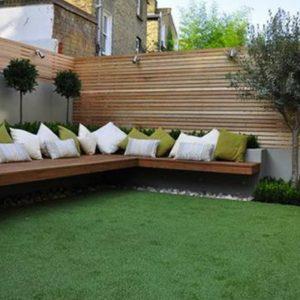 Terrazas y jardines con césped artificial